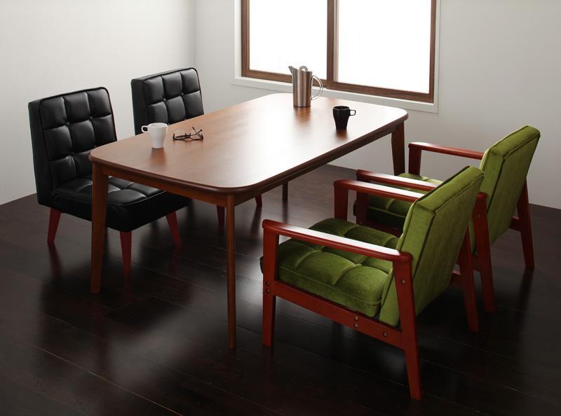 ダイニング テーブル セット 5点セット Fタイプ(テーブルW160cm+1Pソファ×2+チェア×2) 4人用 ウォールナット ダイニング5点セット 食卓5点セット 椅子 イス ダイニングソファセット ダーニー ダイニングセット ソファ 木製テーブル モダン 北欧 おしゃれ (送料無料)