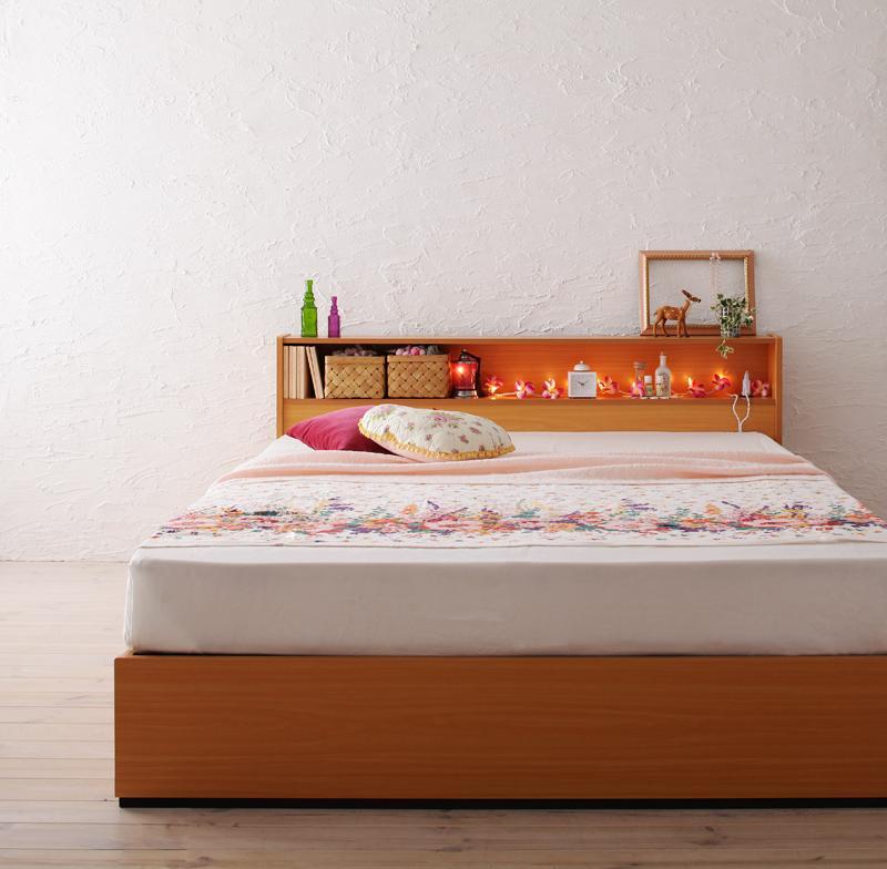ダブルベッド 収納付きベッド フレーム マットレス付き ダブルサイズ ベッド 引き出し付きベッド 収納ベッド コティ 【マルチラススーパースプリングマットレス付き】 シンプル ヘッドボード宮付き 棚付き コンセント付き 木製ベッド 子供部屋 一人暮らし 北欧 棚 (送料無料)
