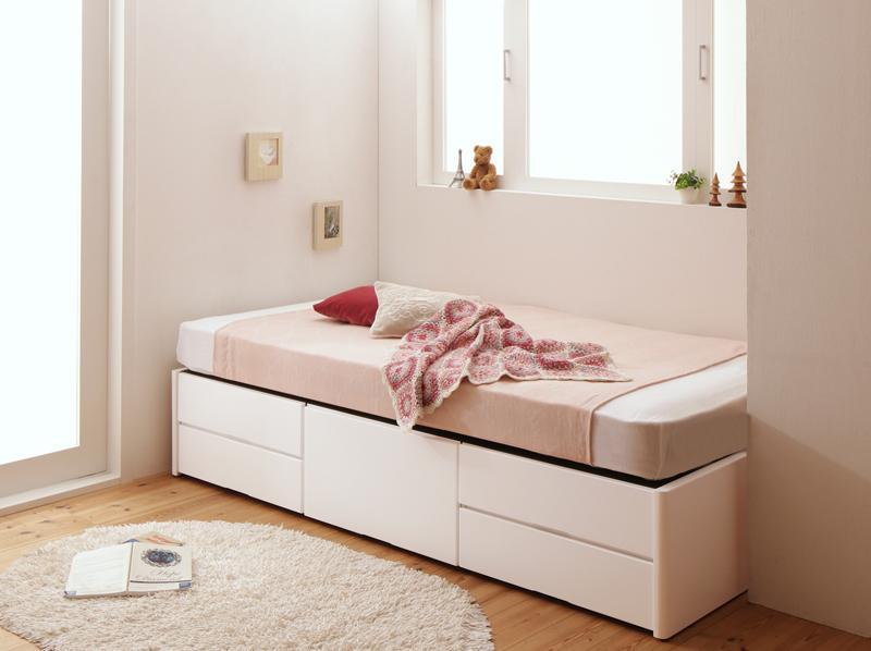 ショート丈 小さい ベッド シングルベッド ベッドフレーム マット付き 180cm マットレスセット 大容量 収納ベッド 収納付きチェストベッド ヘッドレス 引き出し ヴンダーバール 【薄型プレミアムボンネルコイルマットレス付き】シングル 子供部屋 木製 (送料無料) 500042010