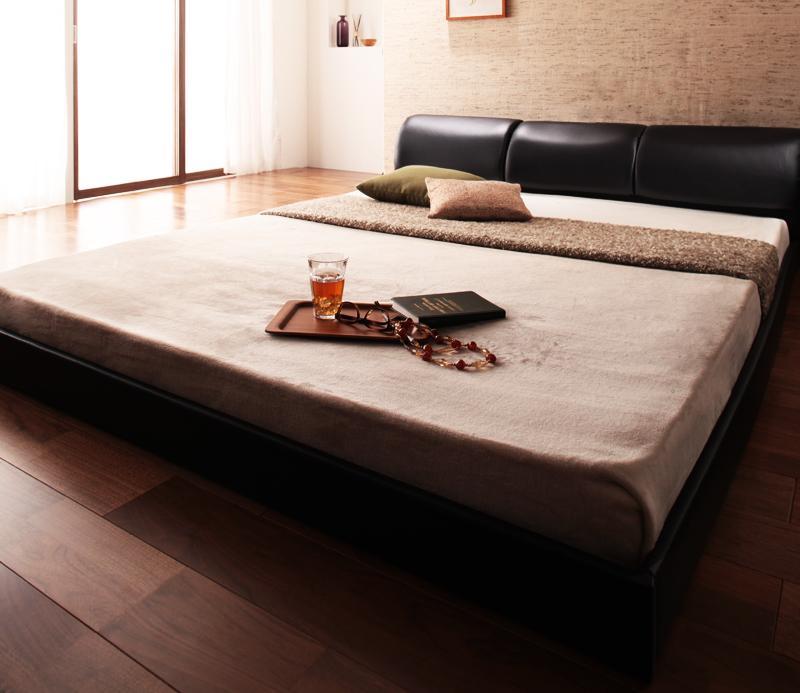 木製 スターデン 黒 ベッド ベット マルチラススーパースプリングマットレス付き ローベッド ローベット Starden ロータイプ ダブル 040111872 ブラック (送料無料)