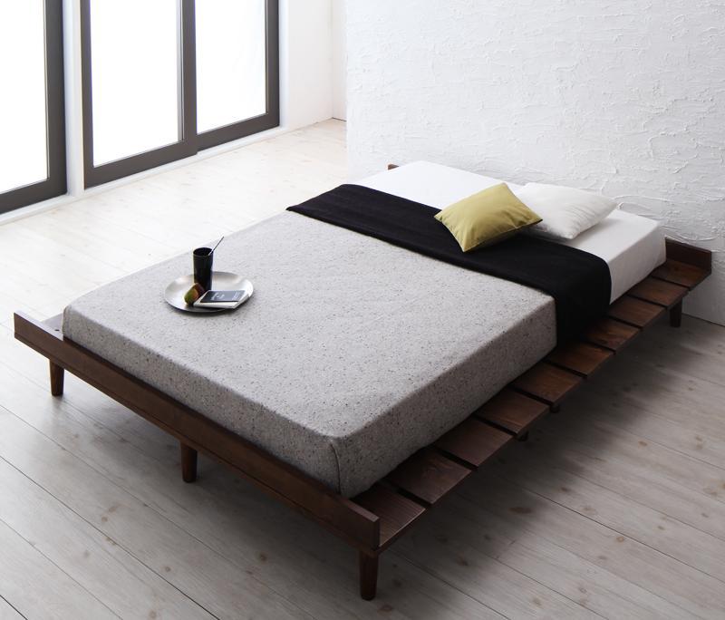 ベッド すのこベッド (マットレス/セミダブル:フレーム/クイーン:ワイドステージレイアウト) 木製ベッド すのこベッド ベッドフレーム ローベッド フロアベッド 低いベッド (プレミアムポケットコイルマットレス付き) スノコベッド 天然木 リスティー 040112001 (送料無料)