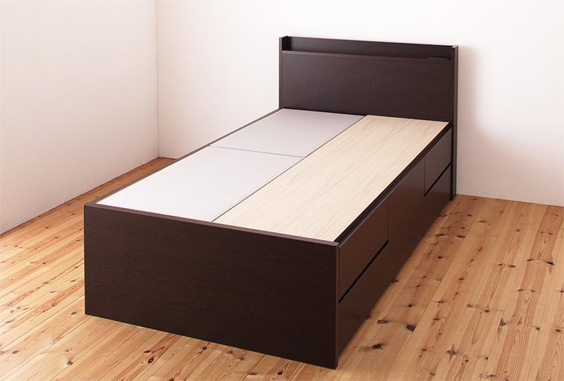 組立設置付き コンパクトベッド シングルベッド フレームのみ シングルサイズ 収納ベッド 木製ベッド リフェス ヘッドボード 宮付き 棚付き コンセント付き ベッド下収納 大容量コンパクト収納付きベッド ショート丈 省スペース 女性 一人暮らし 子供部屋 (送料無料)