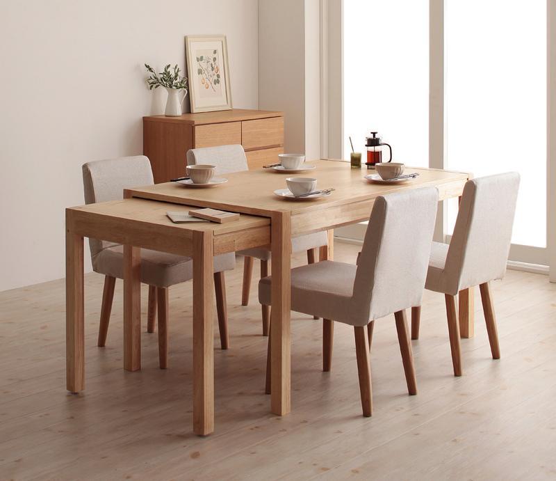 ダイニングセット 5点セット(テーブル+チェア×4) スライド伸縮テーブル グライド 4人用 伸長式 伸縮 伸縮式 エクステンションテーブル 食卓テーブルセット 食卓セット キャスター付き 天然木 木製テーブル ワイド おしゃれ 北欧 かわいい (送料無料) 040600411