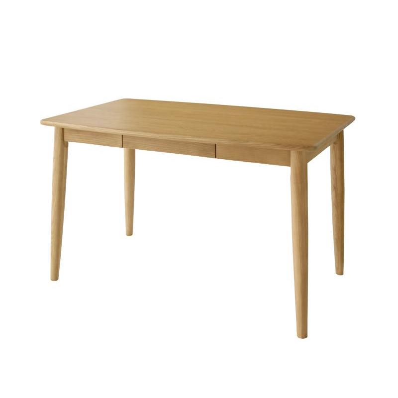 ダイニングテーブル (幅115×奥行70cm) 無垢 4人用 天然木タモ無垢材ダイニング シリンダ 4人掛け 木製テーブル 食卓 食卓テーブル 食事テーブル リビングテーブル テーブル下引き出し付き コンパクト おしゃれ 北欧 (送料無料) 040600578