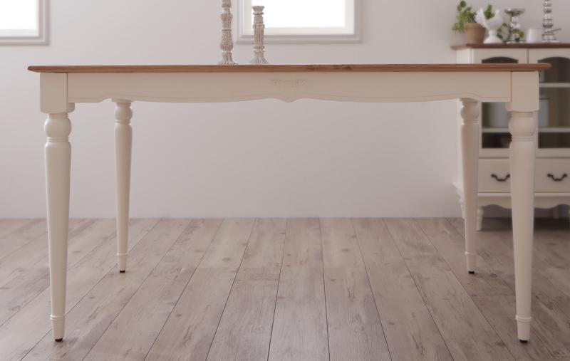 ダイニングテーブル単品 幅135cm テーブル フレンチシャビーテイストシリーズ家具 リーリウム 天然木 木製テーブル 食卓テーブル 4人用 ホワイト 白 高級感 おしゃれ (送料無料) 040600876