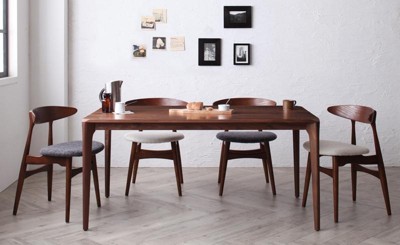 北欧デザイナーズダイニングセット 5点Bセット(テーブル 幅150cm+チェアB(CH-33)×4) シュプリメイト 木製 ウォールナット 無垢材 ダイニングテーブルセット テーブルセット 食卓セット ダイニングセット ダイニングチェア チェア チェアー 北欧 (送料無料) 040601118