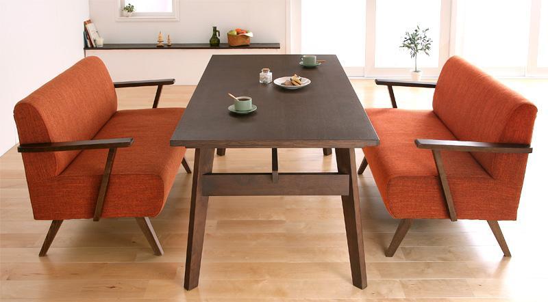 テーブルセット ダイニングテーブル3点セット 木製テーブル 食卓テーブル ダイニング ダイニングソファ 天然木北欧スタイル ソファダイニング -ミルカ 3点セット(Cタイプ テーブル幅160cm×1 ソファ(2P)×2) ナチュラル ブラウン 茶 北欧 新生活 敬老の日 (送料無料)