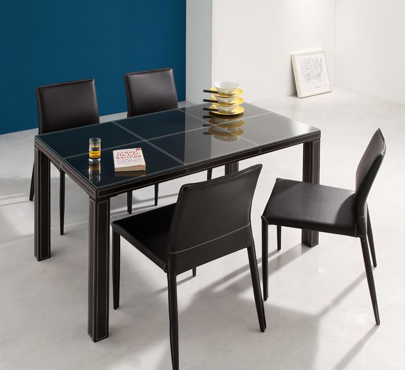 テーブル5点セット ダイニングテーブルセット ダイニングテーブル 食卓テーブル クロスステッチレザーガラスダイニング -ヴァローネ/5点セット (テーブル幅135cm×1、チェア×4)- 家具通販 新生活 敬老の日 (送料無料) 040605258