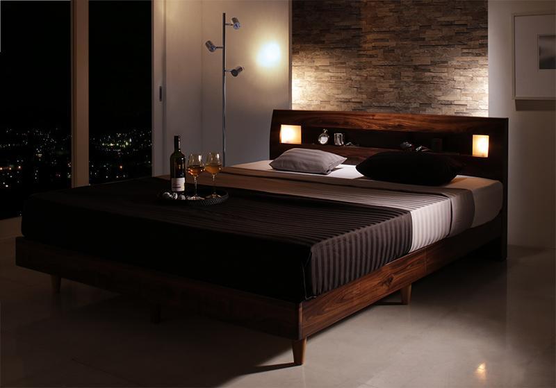 プレミアムボンネルコイルマットレス付き Eleonora エレオノーラ クイーン モダンライト・コンセント付きすのこベッド