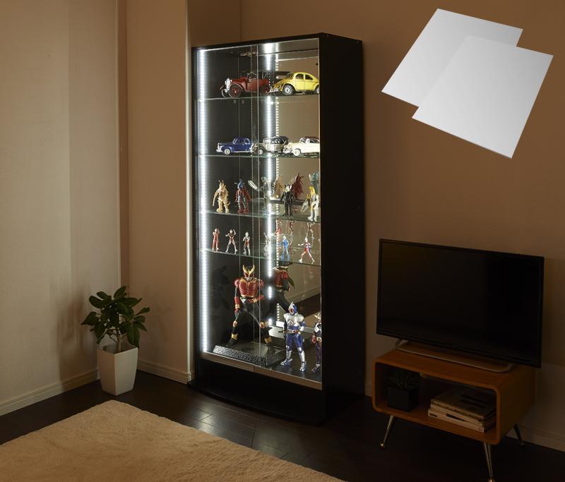 LEDコレクションラック ワイド 本体 引き戸タイプ 背面ミラー2枚セット 高さ180 奥行29 (送料無料) 500023840