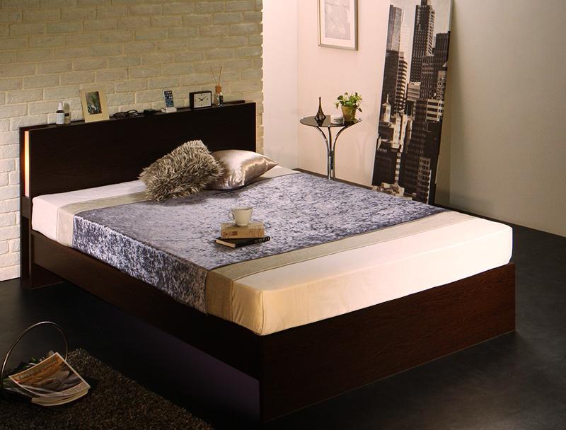 ベッド シングル ベッドフレーム マットレス付き 桐 すのこベッド 国産フレーム モダンライト付きすのこベッ ラッセ マルチラススーパースプリングマットレス付き 棚付き 宮付き 照明 コンセント付き シングルベッド シングルサイズ 木製 ヘッドボード 収納付き (送料無料)