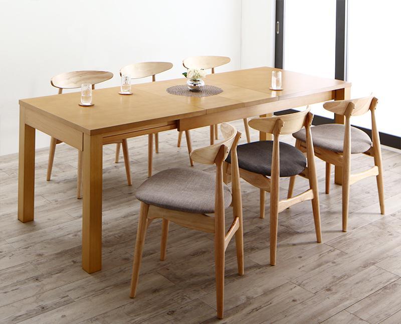 BELONG ビロング 3段階伸縮 ダイニングテーブル 7点セット (テーブル 幅145 175 205+チェア6脚) 6人用 木製 天然木 天板拡張 角型 ナチュラル 500026802 ワイドサイズデザイン 6人掛け ダイニングセット 食卓テーブル 伸縮式テーブル 伸長式テーブル 北欧 (送料無料)