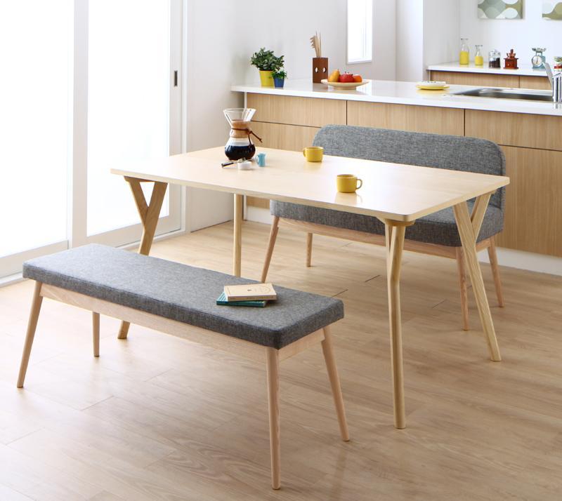 やさしい色合いの北欧スタイル ソファベンチ ダイニング Peony ピアニー 3点セット(テーブル+ベンチ1脚+ソファベンチ1脚) W140 (送料無料) 500026836