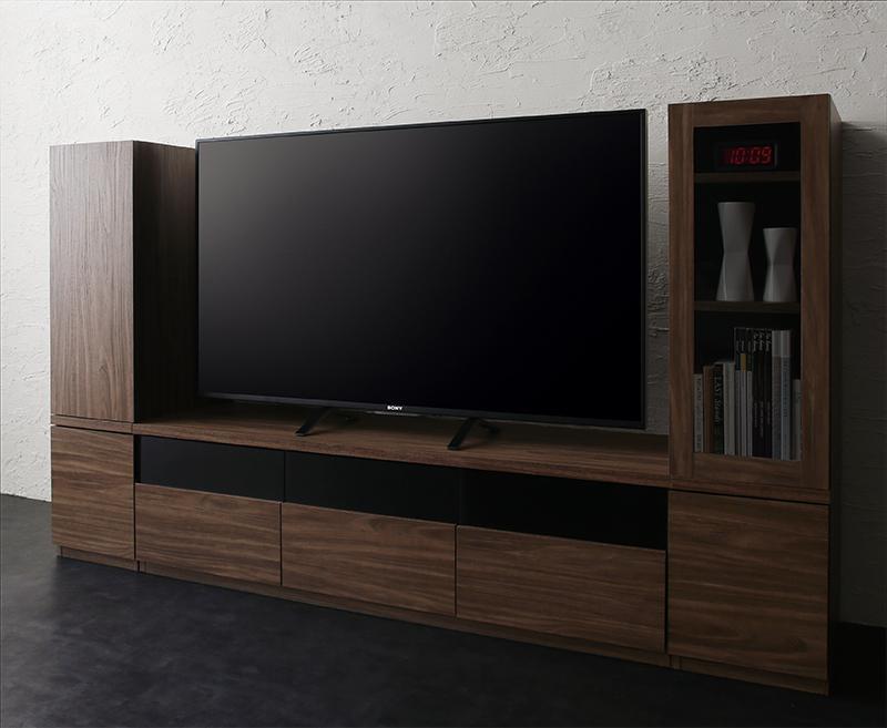 キャビネットが選べるテレビボードシリーズ add9 アドナイン 3点セット(テレビボード+キャビネット×2) 木扉&ガラス扉 W140 (送料無料) 500027031