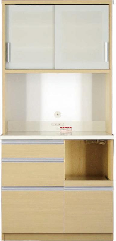 送料無料 開梱サービスなし 大型レンジ対応 清潔感のある印象が特徴のキッチンボード 幅90cm 高さ193cm 500028361