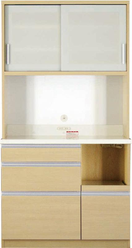 送料無料 開梱サービスなし 大型レンジ対応 清潔感のある印象が特徴のキッチンボード 幅100cm 高さ193cm 500028363