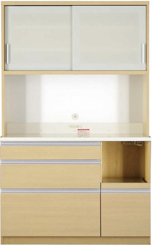送料無料 開梱サービスなし 大型レンジ対応 清潔感のある印象が特徴のキッチンボード 幅120cm 高さ193cm 500028365