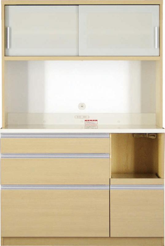 送料無料 開梱サービスなし 大型レンジ対応 清潔感のある印象が特徴のキッチンボード 幅120cm 高さ178cm 500028366