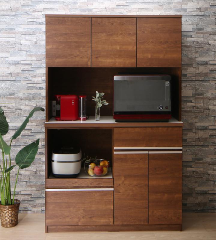 食器棚 幅117cm 奥行き45 大型レンジ対応 キッチン家電が使いやすい高さに置けるキッチンボード Hugo ユーゴー 開き戸 キッチン収納 日本製 国産 木製 ラック 棚 キッチンボード ウォルナットブラウン ハイグロスホワイト (送料無料) 500028394