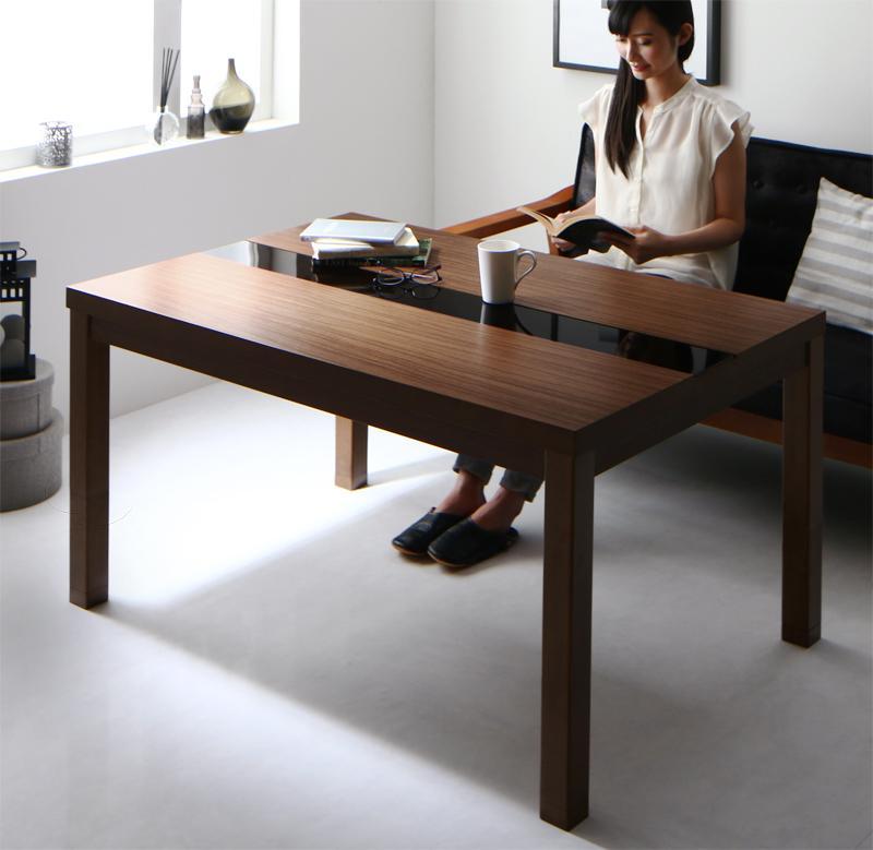 こたつ テーブル 長方形 (75×105cm) 5段階で高さが変えられる アーバンモダンデザイン高さ調整こたつテーブル GREGO グレゴ 木製 継ぎ脚 コード収納 リビングテーブル ブラック×ウォールナットブラウン (送料無料) 500028806