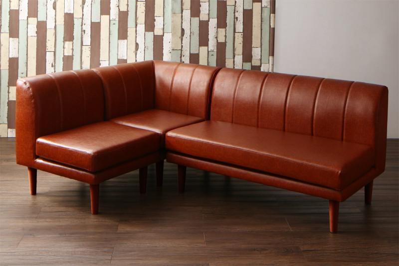 ダイニングソファ 3点 1P+2P+コーナー 高さ調節できる リビングダイニング Norld ノールド 食卓椅子 ソファーセット ポケットコイル 合成皮革 キャメルブラウン ダークブラウン (送料無料) 500029198