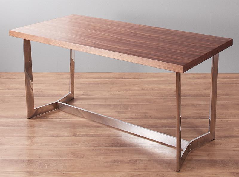 ダイニングテーブル単品 幅150×奥行き75×高さ72cm ラグジュアリーモダンデザインダイニング Ajmer アジュメール 角型 木製 食卓 ステンレススチール グロッシーホワイト ウォールナット (送料無料) 500029207