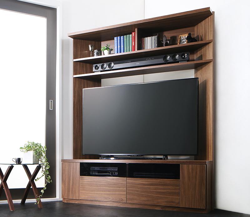ハイタイプ テレビ台 55V型 まで対応 幅134×奥行き40×高さ160cm 薄型 大型テレビ対応ハイタイプコーナーテレビボード city angle シティアングル 木製 壁面 コーナー ウォルナットブラウン (送料無料) 500029564