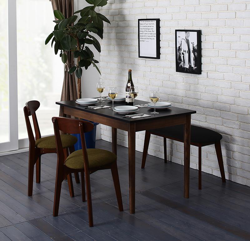 ダイニングセット 4点セット(テーブル ブラック×ブラウン W115+チェア2脚+ベンチ1脚) カフェ ヴィンテージ ダイニング Mumford マムフォード 木製 食卓 4人掛け ダークグレー グリーン (送料無料) 500029669