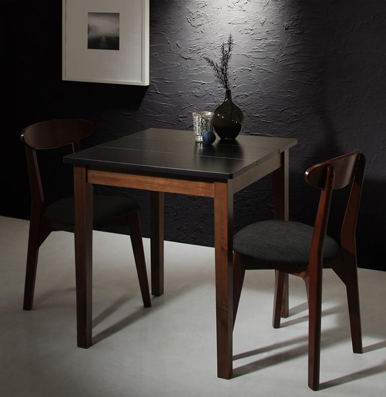 ダイニング 3点セット (ダイニングテーブル ブラック×ウォールナット 幅68 + チェア 2脚) モダン Worth ワース 天然木 木製 食卓テーブル 2人掛け アイボリー ダークグレー (送料無料) 500029700
