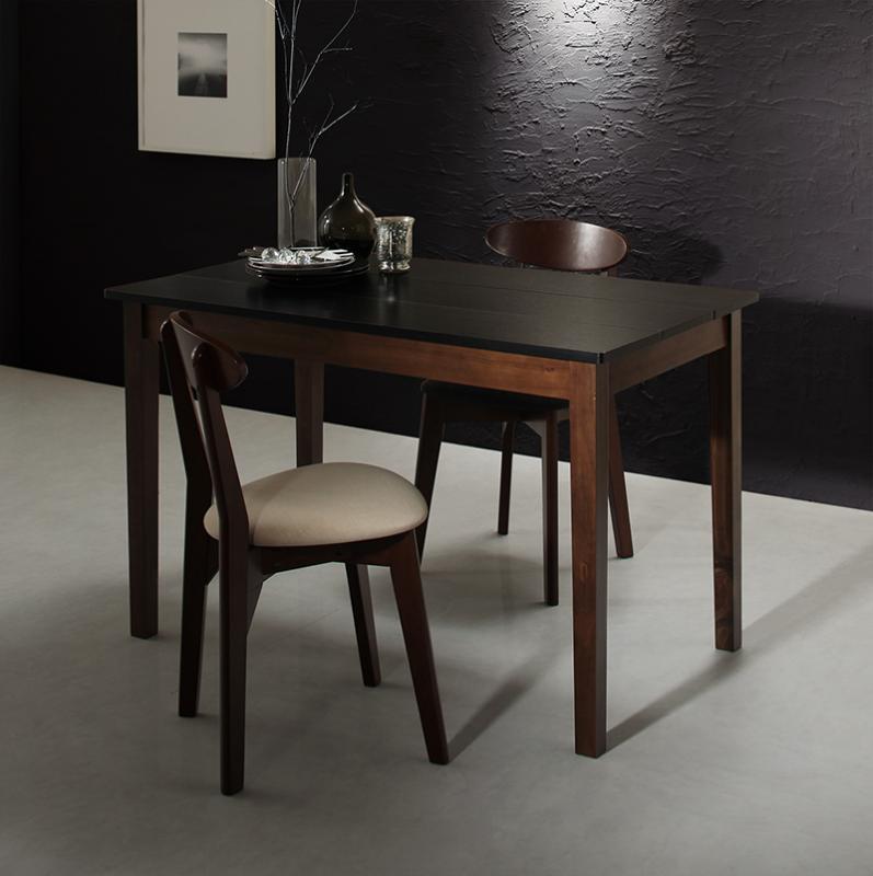 ダイニング 3点セット (ダイニングテーブル ブラック×ウォールナット 幅115 + チェア 2脚) モダン Worth ワース 天然木 木製 食卓テーブル 2人掛け アイボリー ダークグレー (送料無料) 500029701