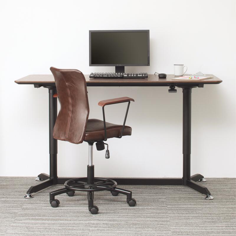 オフィスデスク 2点セット(デスク 幅150 + チェア) ワンタッチで高さが変えられる スタンディングデスクセット GROWTHER グローサー ワークテーブル ワークデスク 木製 ブラック (送料無料) 500030000