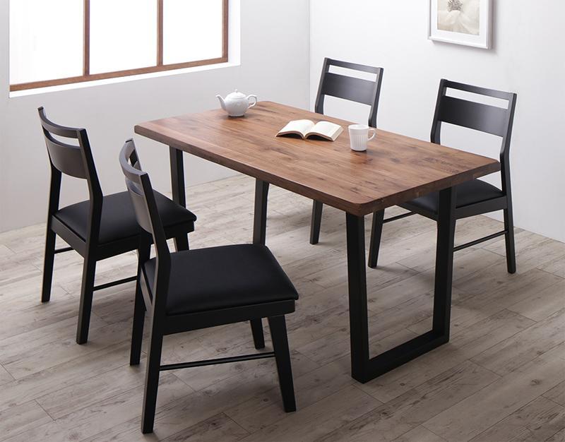 ダイニング5点セット (ダイニングテーブル 幅140 +チェア4脚セット) ウォールナット 無垢材 モダンデザインダイニング Jisoo ジス 木製 角型 食卓テーブル 合成皮革 4人掛け ウォールナットブラウン (送料無料) 500030122