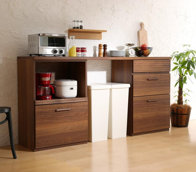 日本製完成品 天然木調ワイドキッチンカウンター Walkit ウォルキット レンジ台+引き出し 180cm (送料無料) 500033469
