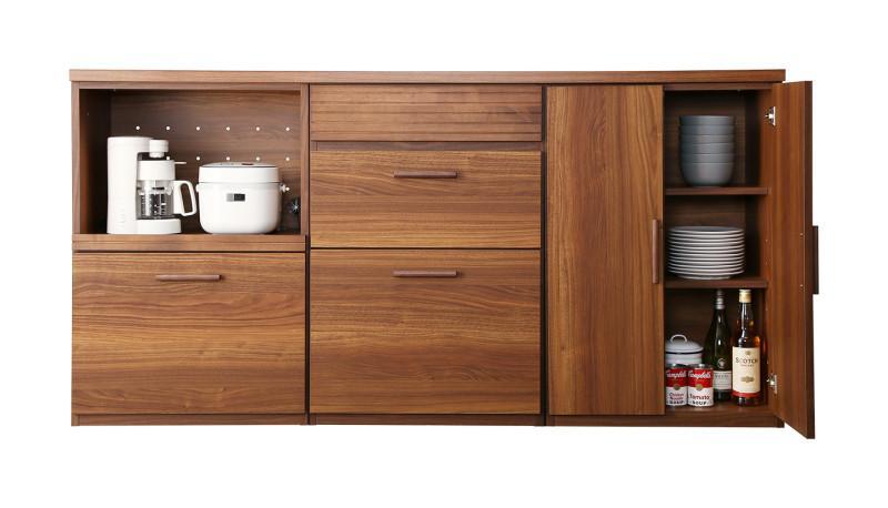 日本製完成品 天然木調ワイドキッチンカウンター Walkit ウォルキット レンジ台+引き出し+扉付き引き出し (送料無料) 500033476