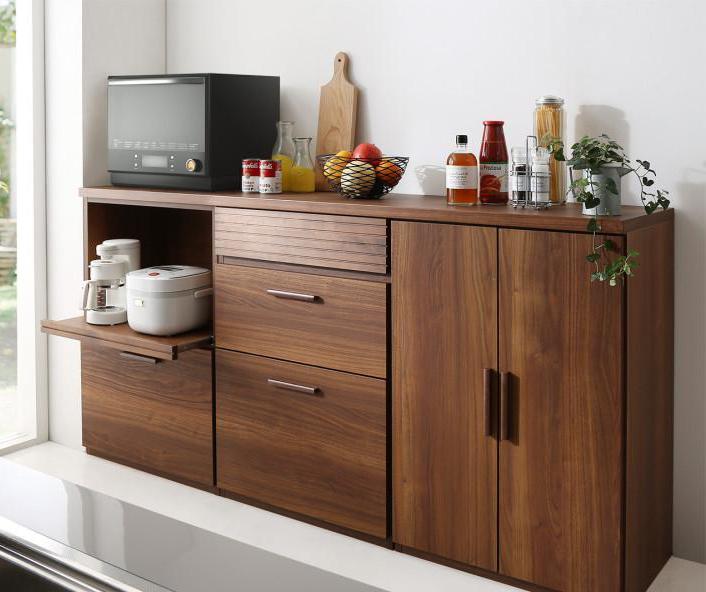 日本製完成品 天然木調ワイドキッチンカウンター Walkit ウォルキット レンジ台+引き出し+食器棚 (送料無料) 500033477
