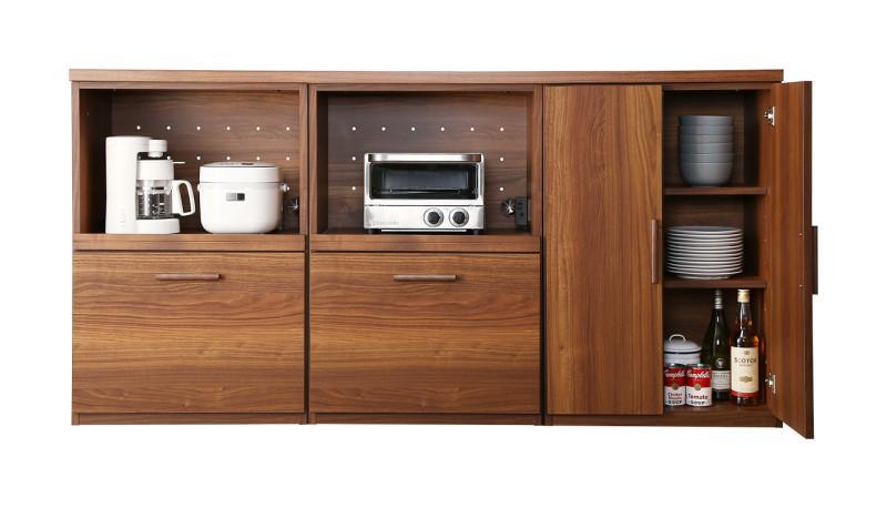 日本製完成品 天然木調ワイドキッチンカウンター Walkit ウォルキット レンジ台+レンジ台+食器棚 (送料無料) 500033478