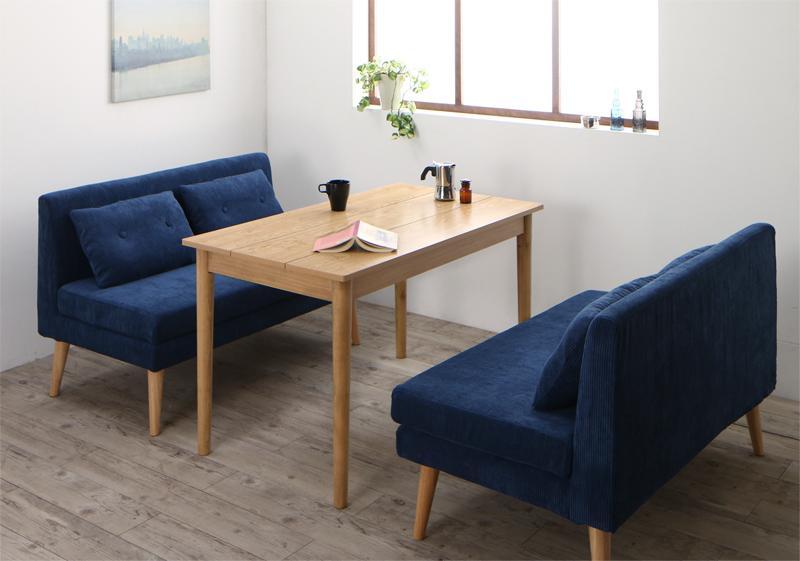 リビングダイニングセット 3点セット(ダイニングテーブル 幅115 +2人掛け ソファ2脚) 北欧デザインソファ SLIVE スライブ 天然木 木製 角型 食卓テーブルセット 4人掛け ネイビー ブラウン グレー (送料無料) 500033480