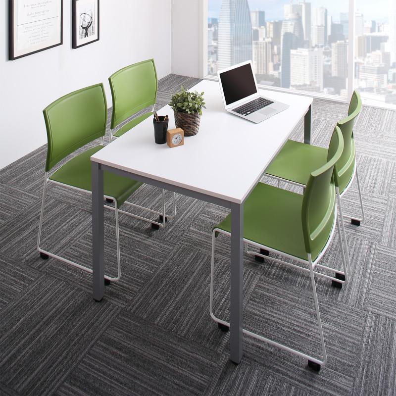 オフィスデスク 5点セット (テーブル 幅120 + チェア4脚) おしゃれ 120 ミーティングテーブル&スタッキングチェアセット Sylvio シルビオ 木製 スチール脚 平机 ダークブラウン ホワイト ナチュラル (送料無料) 500033520