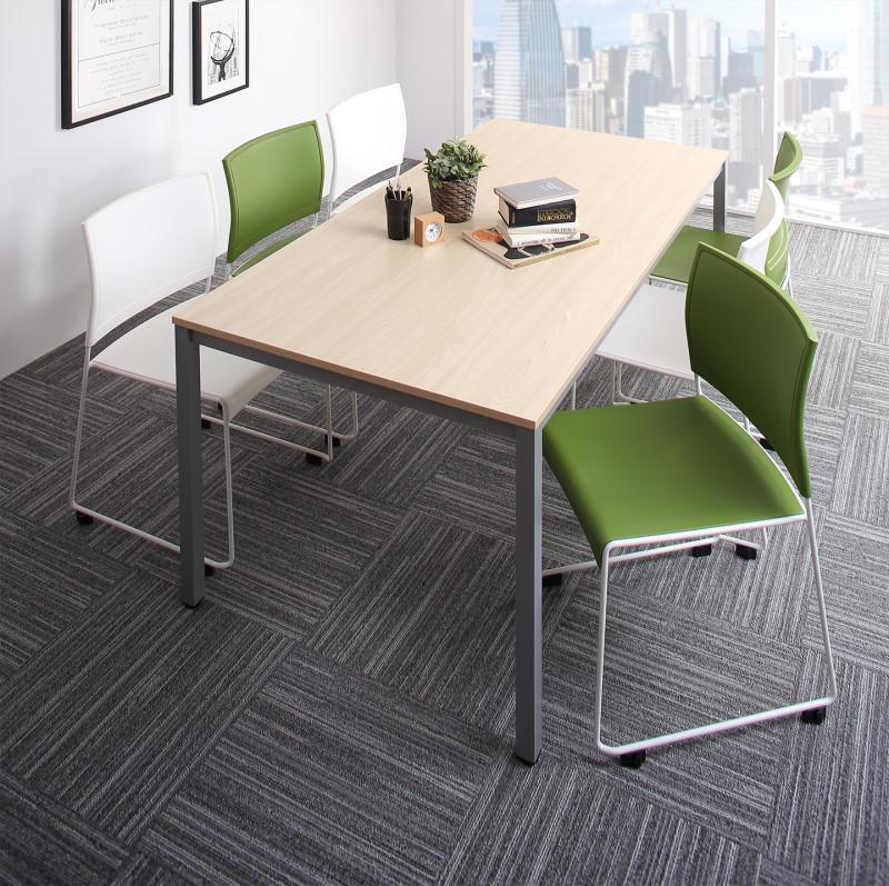 オフィスデスク 7点セット (テーブル 幅180 + チェア6脚) おしゃれ 180 ミーティングテーブル&スタッキングチェアセット Sylvio シルビオ 木製 スチール脚 平机 ダークブラウン ホワイト ナチュラル (送料無料) 500033523