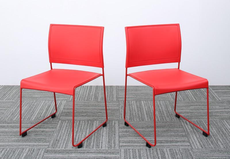 スタッキングチェアー 2脚組 ISSUERE イシューレ 2脚セット オフィスチェア スタッキングチェア パソコンチェア 椅子 イス いす スチール ブラック レッド ホワイト グリーン (送料無料) 500033540