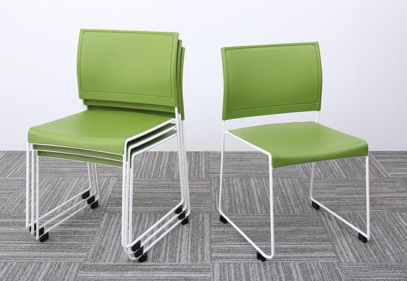 スタッキングチェアー 4脚組 ISSUERE イシューレ 4脚セット オフィスチェア スタッキングチェア パソコンチェア 椅子 イス いす スチール ブラック レッド ホワイト グリーン (送料無料) 500033541