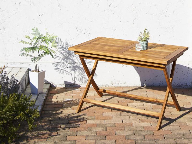 チーク天然木 折りたたみ式ベンチタイプガーデンファニチャー Nobilis ノビリス テーブル W120 (送料無料) 500033691