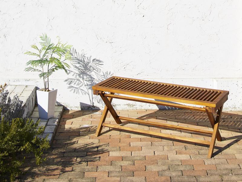 チーク天然木 折りたたみ式ベンチタイプガーデンファニチャー Nobilis ノビリス ベンチ 2P (送料無料) 500033693