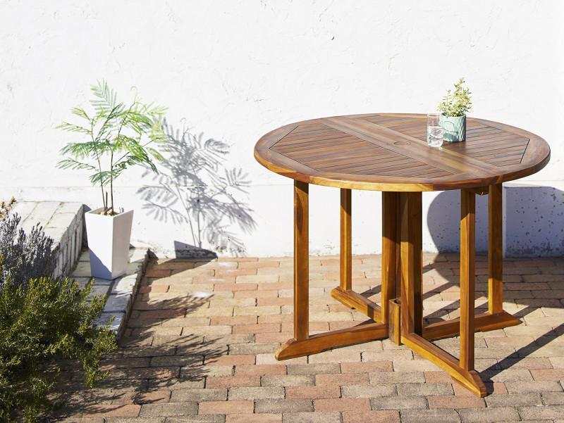 チーク天然木 ワイドラウンドテーブルガーデンファニチャー Abelia アベリア テーブル W110 (送料無料) 500033700
