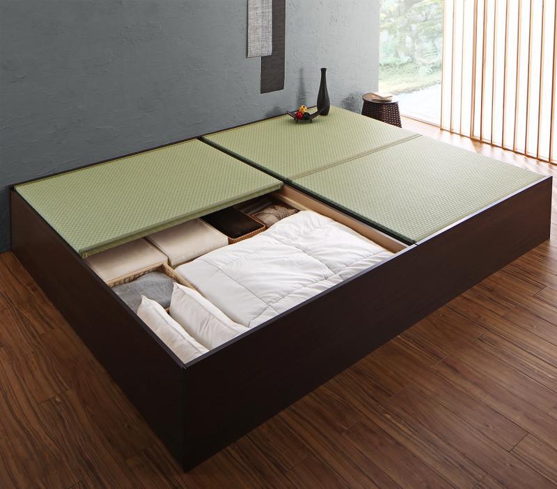 組立設置付き 布団が収納できる・美草・小上がり畳連結ベッド ベッドフレームのみ セミダブル (送料無料) 500040150