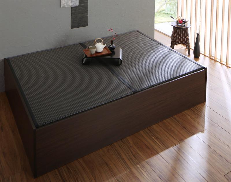 お客様組立 布団が収納できる・美草・小上がり畳ベッド ベッドフレームのみ セミダブル (送料無料) 500040162