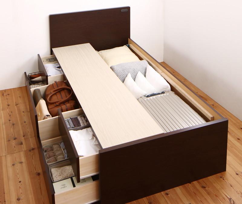 送料無料 ベッドフレームのみ セミシングル ショート丈 コンセント付き 国産 コンパクトチェスト収納ベッド Flumen フルーメン 木製 引き出し 収納付き 大容量 セミシングルベッド 小さい 小さめ ベッド ベット おしゃれ かわいい