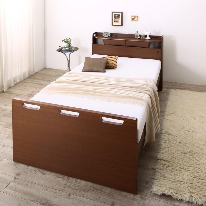 お客様組立 寝返りができる棚・コンセント・ライト付き幅広電動介護ベッド ウレタンマットレス付き 2モーター セミダブル (送料無料) 500041035