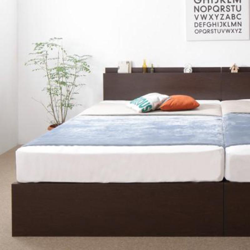 お客様組立 壁付けできる国産ファミリー連結収納ベッド Tenerezza テネレッツァ 羊毛入りゼルトスプリングマットレス付き Bタイプ セミダブル (送料無料) 500041364