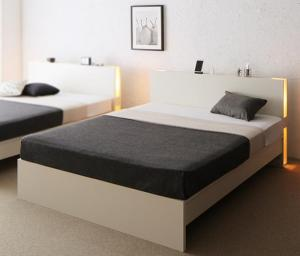送料無料 ベッドフレーム マットレス 付き ダブルベッド すのこ 2段階高さ調整 国産 ベッド LANZA ランツァ ゼルトスプリングマットレス付き ダブルサイズ 棚付き ライト付き コンセント付き 木製 スノコベッド ベット下 収納付き 大容量